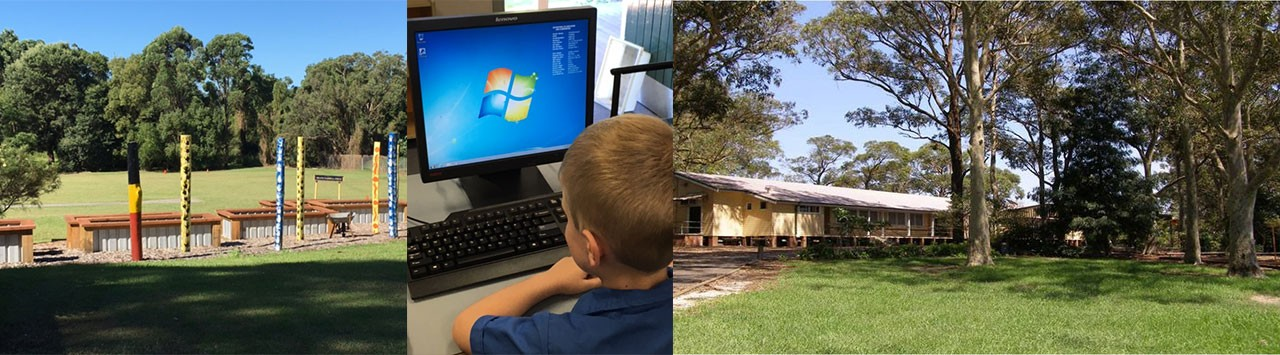 A collage of school grounds and a student at a computer.